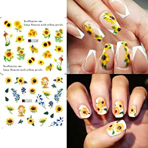 Nail Stickers Blossom Florals Nail Art Water Decals Transfer Foils Sliders Lasting Decorations