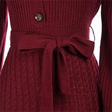Tie Waist Design Belted Sweater Dress