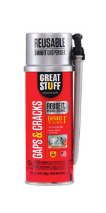 Gaps and cracks is an insulating foam home sealant that is waterproof and durable.