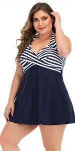 navy blue striped swimming bathing suits swim dress for women tummy control swimwear swimsuit
