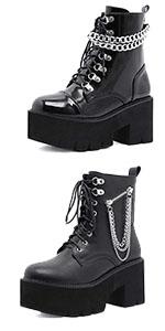 Women Sexy Chain Ankle Goth Boots Zipper Platform Boots