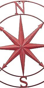 Bellaa Metal Wall Art Sculptures Decorative Round Metal Compass 30 inch