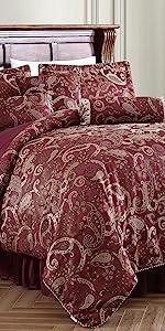 Adelle 7-Piece Paisley Jacquard Comforter Set, Burgundy