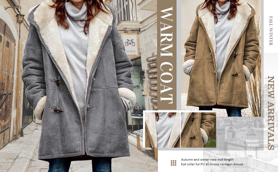 Happy Sailed Women's Lapel Sherpa Fleece Lined Denim Jacket Winter Button Down Warm Coat Outerwear