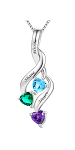 Personalized Mothers Necklace with 3 Simulated Birthstones Engraved Names
