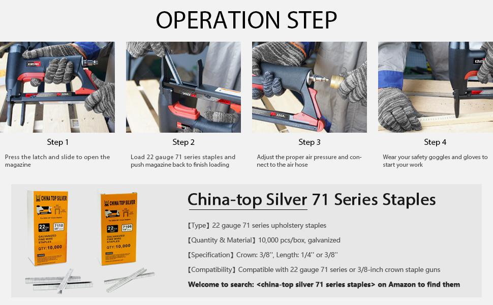 Easy operation of the KIMSING 7116L air upholstery stapler