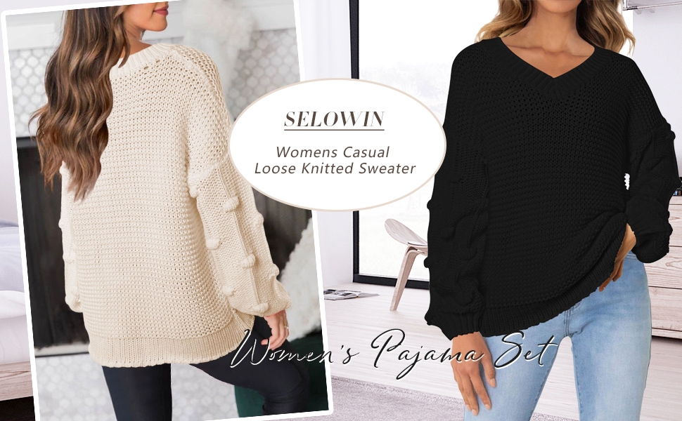 Selowin Womens Casual Loose Sweater V Neck Loose Puff Sleeves Chunky Knitted Pullover Tops