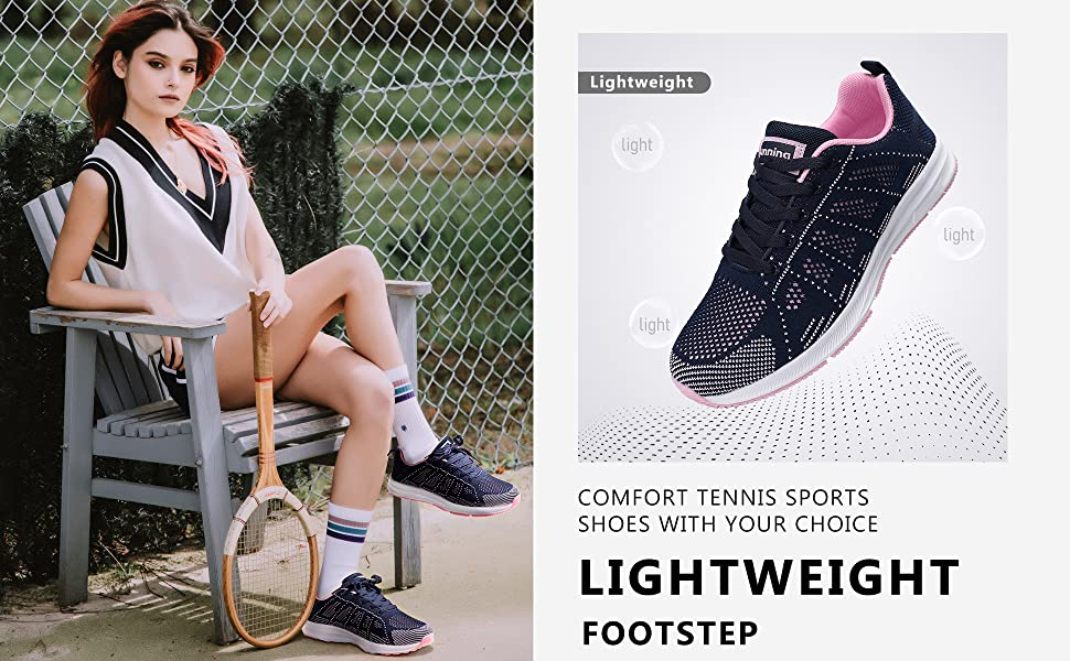 women comfort tennis sports shoes lightweight walking sneakers mesh knitted gym shoes black