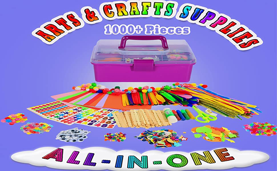 Craft Art Supply Kit for Toddlers Age 4 5 6 7 8 9