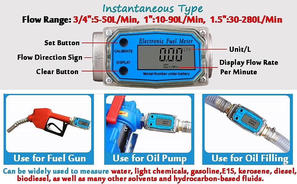 """1"""" 1 inch 20-120L/Min Oil Flowmeter Kerosene Gas Methanol Diesel Fuel Flow Digital Meter"""