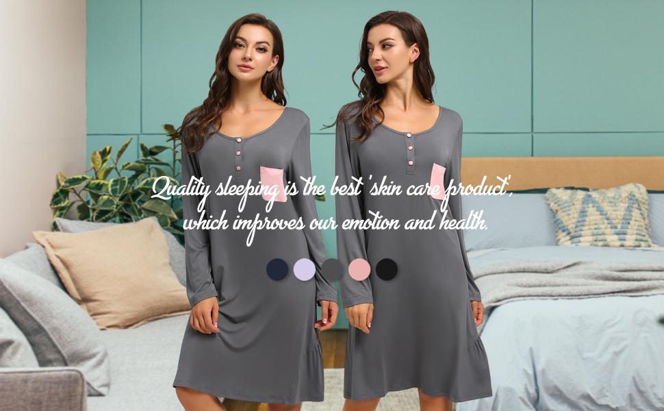 Long sleeve sleeping dress