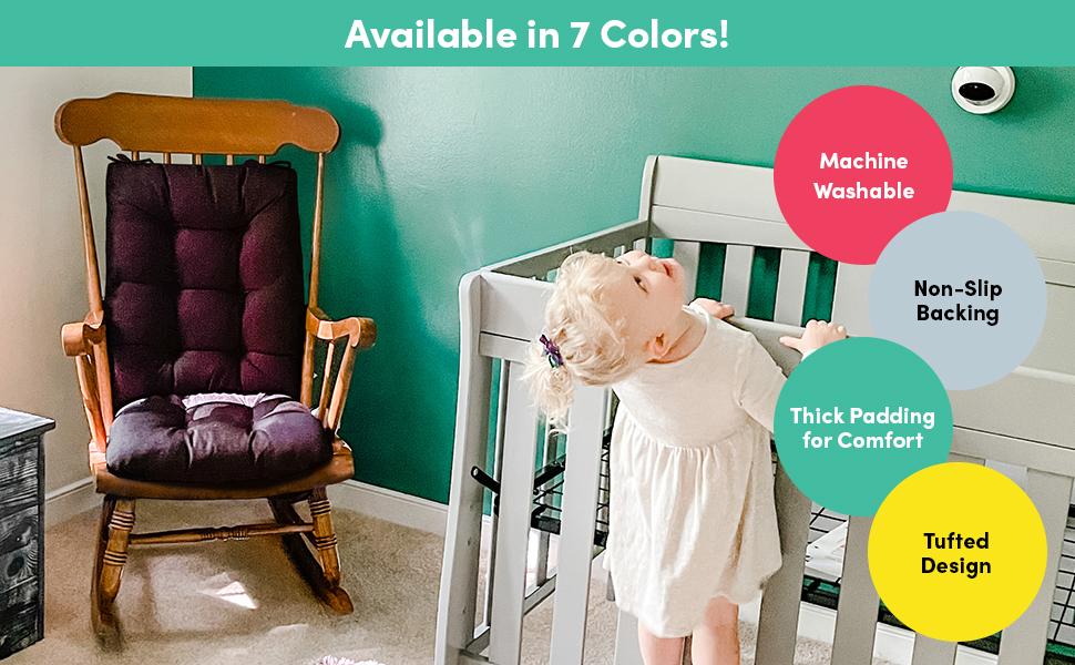 7 Colors, Machine washable, non slip backing, thick padding, tufted design