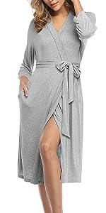 Women Grey Bath Spa Robe Short Knee Length Gown