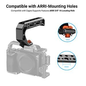 Locking with Arri-type locating holes of camera cage