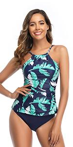 High Neck Ruched Tankini