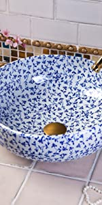blue and white sink