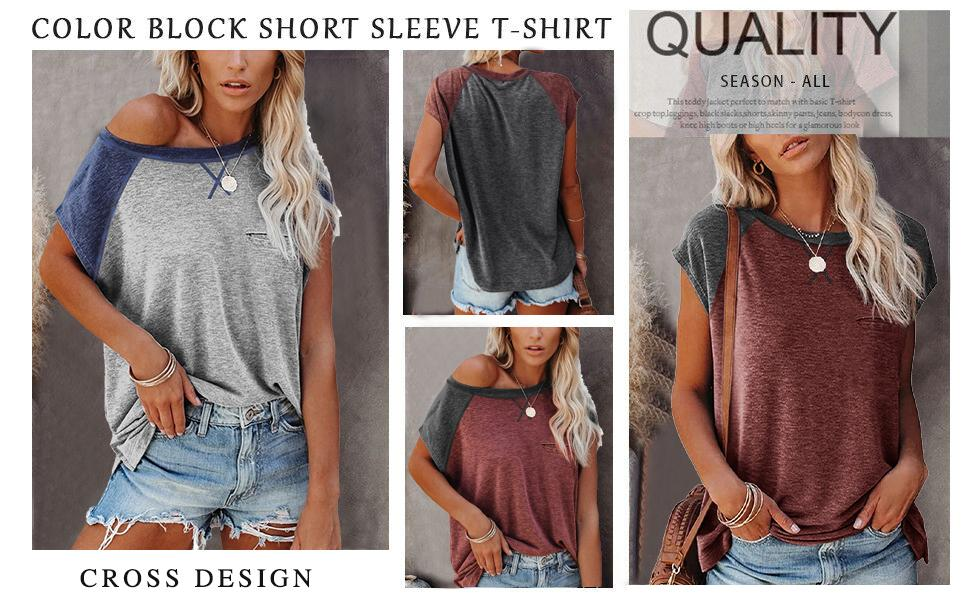 Women Summer T Shirts Short Sleeve Rounded Neck Pocket Tee Tops