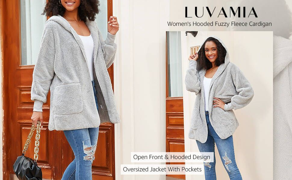 luvamia Women's Long Sleeve Fuzzy Fleece Hooded Cardigan Jacket Coat Winter Warm Pockets Overcoat