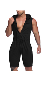 Mens Jumpsuits One Piece Shorts with Pockets