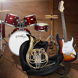 Ashthorpe instruments in wood room, five-piece red drum set, brown electric guitar, gold french horn