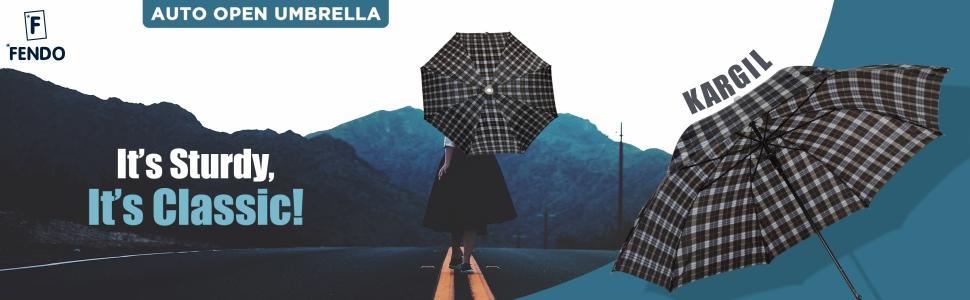 Fendo Kargil Straight Auto Open 23 Inch Medium Umbrella (Black)