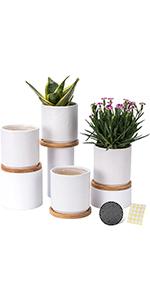 4 inch ceramic planters pots set of 4