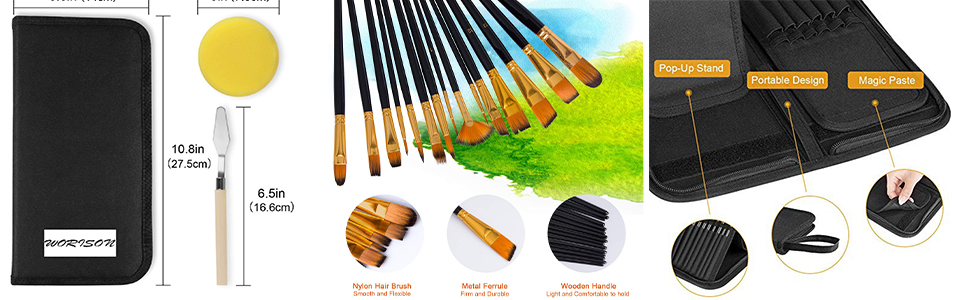 SPN-VIPL Artist Black Paint Brush Set