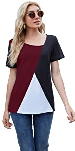 AYIFU womens summer wine red short sleeve shirts color block tunic tops casual blouse S-3XL