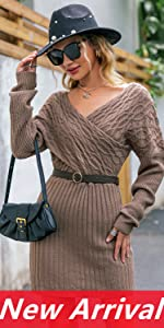 Elegant Wrap Batwing Sleeve Pullover Sweater Dress V Neck Bodycon Sexy Knit Cocktail Winter Dress