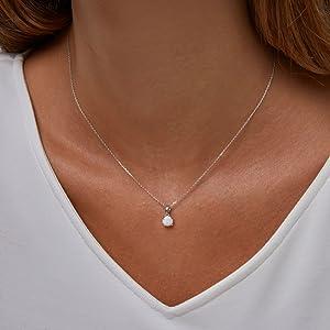 Dainty Opal Pendant Necklace