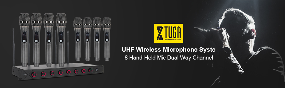 UHF Wireless Microphone System 8 Handheld Mic Dual Way Channel