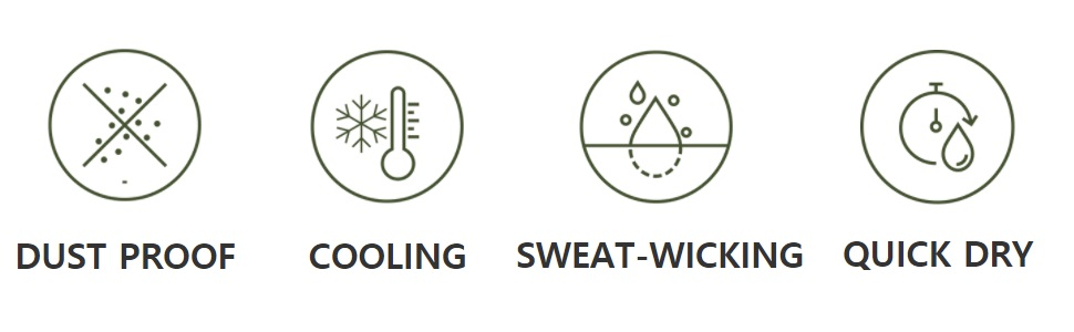 Dust proof cooling sweat-wicking quick dry