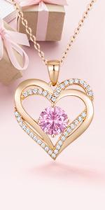 Love Heart Birthstone Necklace
