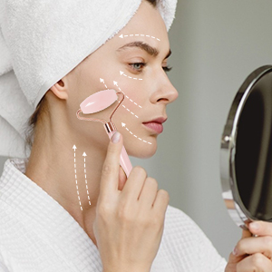 facial massage with Qhou Jade Roller
