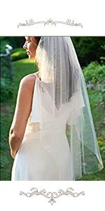 """2 Tiers Bride Wedding Veil 47"""" Short Fingertip Length with Comb and Cute Edge"""