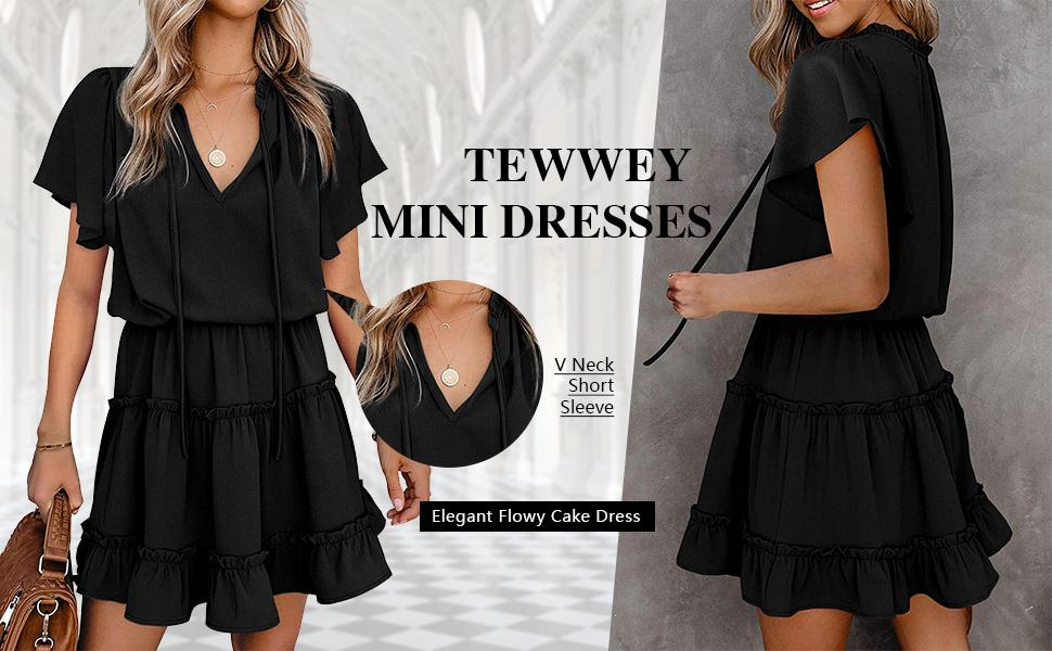 Women's Summer Mini Dress Beach Casual V Neck Elegant Flowy Chiffon Short Dress