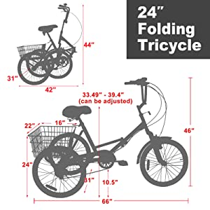 """24"""" Folding Tricycle Size"""