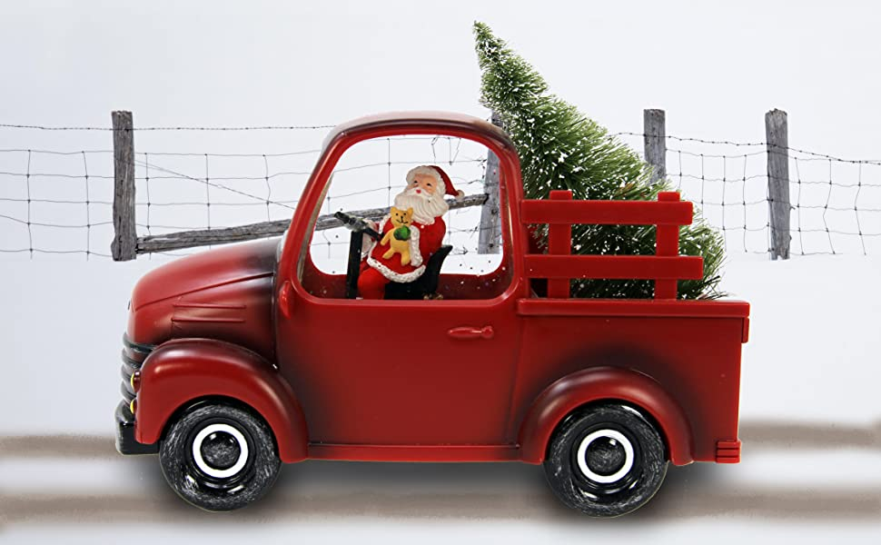 Musical Santa In Red Truck with Spinning Water