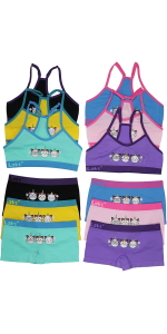 girls pack of six t back matching sets training bras boyshort panties