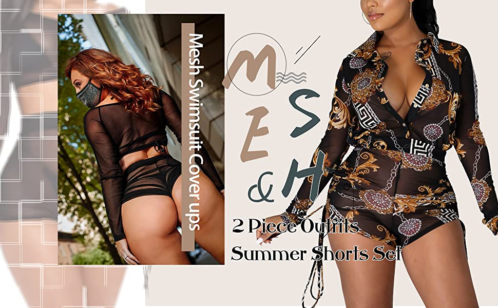 Women's Sexy Mesh Swimsuit Cover ups 2 Piece Outfits Solid Bikini Cover Up Summer Shorts Set