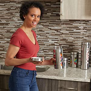 grey kitchen canisters, storage canister, mason jar canister set, stainless steel canister set,