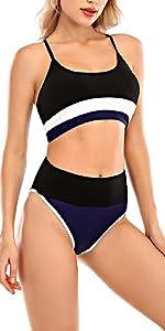 Costumi da Bagno Donna Vita Alta in Due Pezzi Bikini Capestro Bendare Costume da Bagno Mare