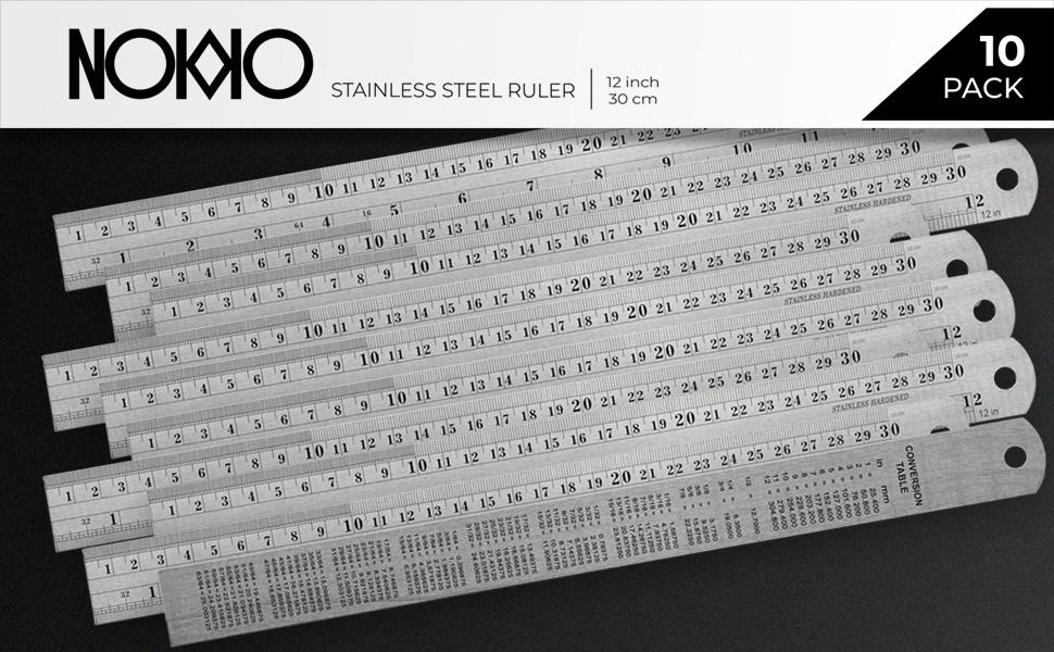 NOKKO Stainless Steel Ruler 10-Pack - Measuring Set of 12-Inch/30cm Metal Rulers.