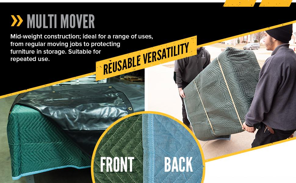multi mover moving blanket is constructed for repeated use