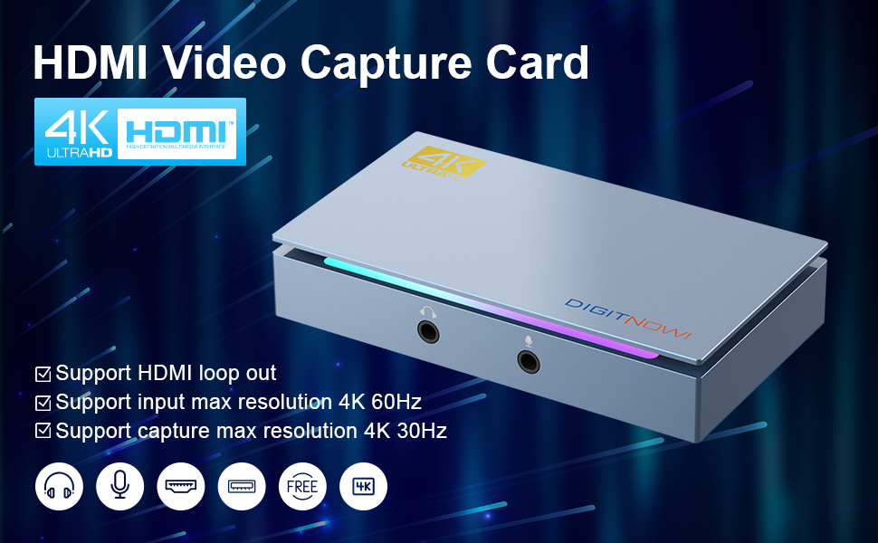 HDMI video Gaming Capture Card 4k ultra-HD support HDMI Loop-out, Maximum Resolution up to 4k
