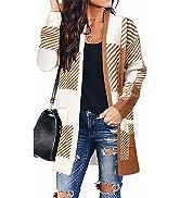 MEROKEETY Womens Plaid Long Sleeve Open Front Cardigan Knit Sweater Coat