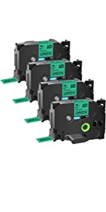 Compatible for Brother ptouch TZ TZe 741 label tape Laminated Black on Green cartridges
