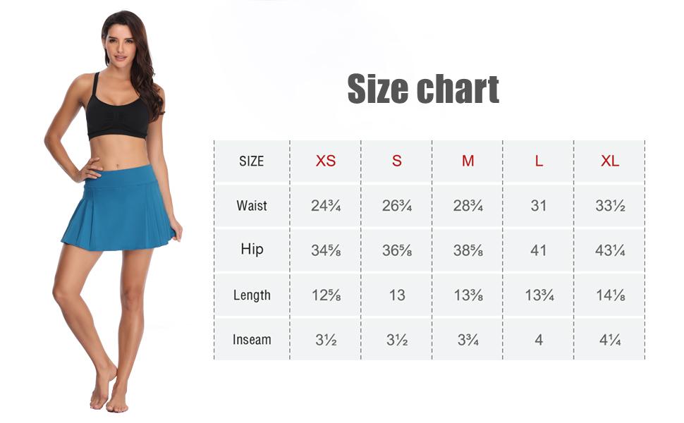 Tennis Skirt Size Chart