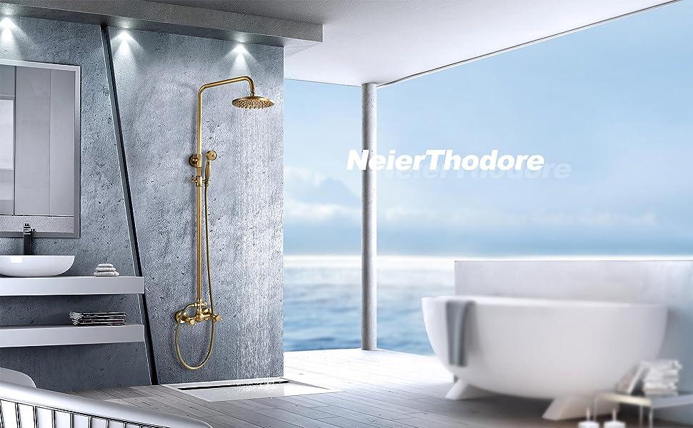 Antique Brass Bathroom Shower Faucet Set Brushed Gold Shower Fixture 8 Inch Rainfall Shower Head