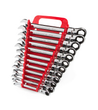 Stubby Ratcheting Combination Wrench Set, 12-Piece (8-19 mm) - Holder